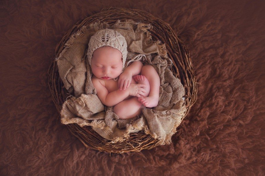 baby in a basket photo